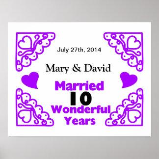 Purple Heart Swirls Names & Date 10 Yr Anniversary Poster