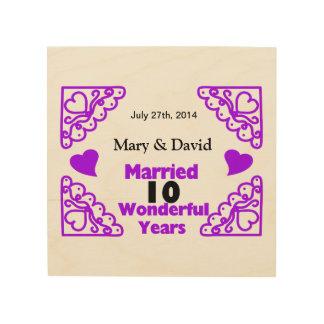 Purple Heart Swirls Names & Date 10 Yr Anniversary Wood Wall Art
