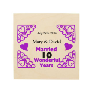 Purple Heart Swirls Names & Date 10 Yr Anniversary Wood Wall Decor