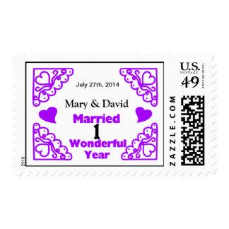 Purple Heart Swirls Names & Date 1 Yr Anniversary Stamps