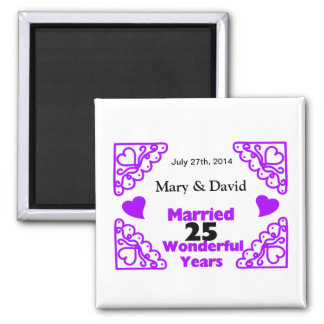 Purple Heart Swirls Names & Date 25 Yr Anniversary 2 Inch Square Magnet
