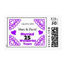 Purple Heart Swirls Names & Date 25 Yr Anniversary Postage