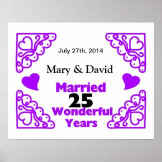 Purple Heart Swirls Names & Date 25 Yr Anniversary Poster