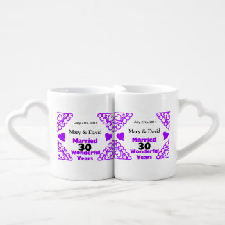 Purple Heart Swirls Names & Date 30 Yr Anniversary Coffee Mug Set