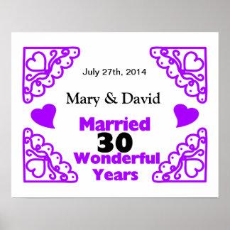 Purple Heart Swirls Names & Date 30 Yr Anniversary Poster