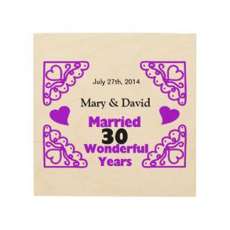 Purple Heart Swirls Names & Date 30 Yr Anniversary Wood Wall Art