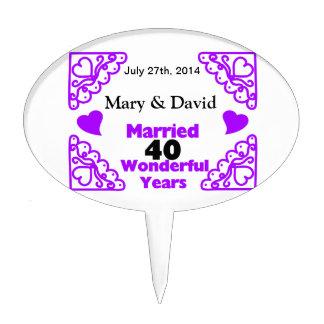 Purple Heart Swirls Names & Date 40 Yr Anniversary Cake Topper