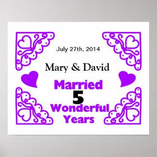 Purple Heart Swirls Names & Date 5 Yr Anniversary Poster
