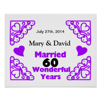 Purple Heart Swirls Names & Date 60 Yr Anniversary Poster