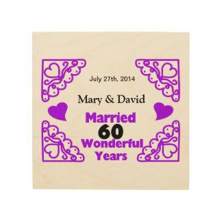 Purple Heart Swirls Names & Date 60 Yr Anniversary Wood Wall Art