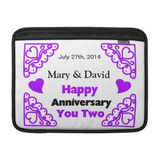 Purple Heart Swirls Names & Date Happy Anniversary MacBook Sleeve