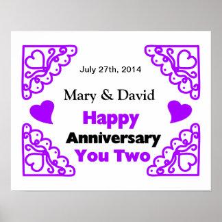 Purple Heart Swirls Names & Date Happy Anniversary Poster