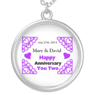 Purple Heart Swirls Names & Date Happy Anniversary Silver Plated Necklace