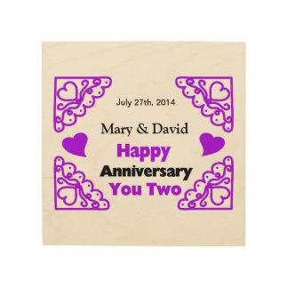 Purple Heart Swirls Names & Date Happy Anniversary Wood Print