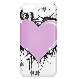 Purple Heart Tattoo Style with Flowers iPhone 5C Case