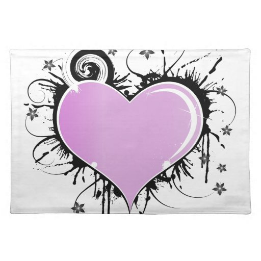 Purple Heart Tattoo Style with Flowers Cloth Place Mat