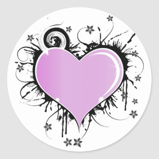 Purple Heart Tattoo Style with Flowers Classic Round Sticker