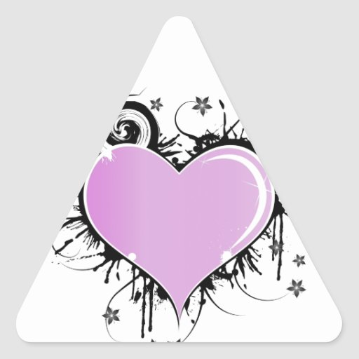 Purple Heart Tattoo Style with Flowers Triangle Sticker