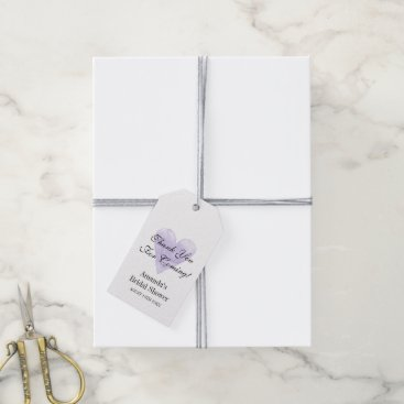 Valentines Themed Purple heart thank you for coming bridal shower gift tags
