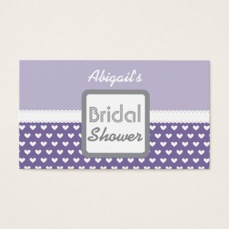 Purple Heart Theme Bridal Shower A01A Business Card