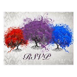 Purple Heart Tree Wedding Monogram Response Card
