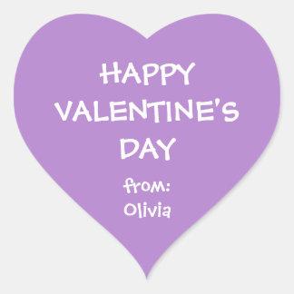 Purple heart valentine personalized gift tag heart sticker