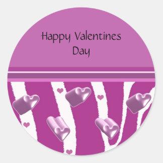 Purple Heart Valentines Day Classic Round Sticker