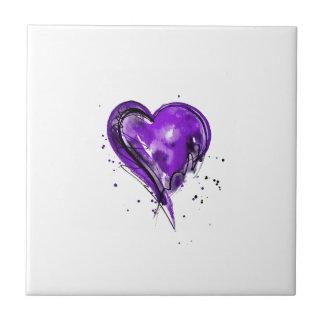 Purple Heart Watercolor Tile