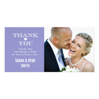 Purple Heart Wedding Photo Thank You Cards Picture Card