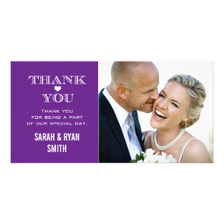 Purple Heart Wedding Photo Thank You Cards Customized Photo Card
