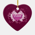 Purple heart wings swirls Love Valentine's Day Christmas Ornament