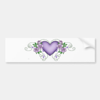 purple heart with roses & vines car bumper sticker