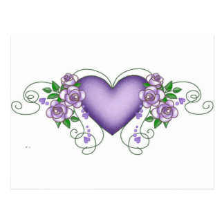 purple heart with roses & vines postcard