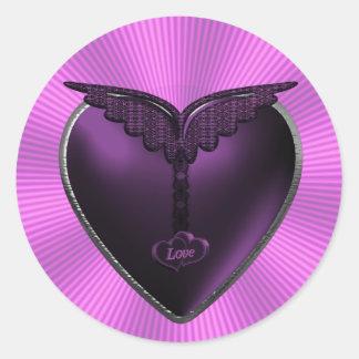 Purple Heart With Wings Sticker