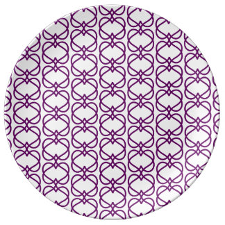 Purple Hearts Abstract Pattern Plate