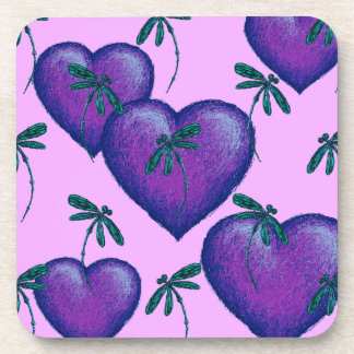 Purple Hearts and Dragonflies Coaster