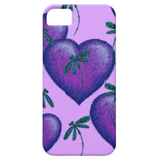 Purple Hearts and Dragonflies iPhone SE/5/5s Case