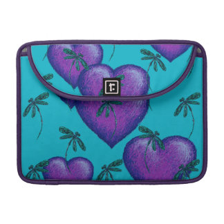 Purple Hearts and Dragonflies Sleeve For MacBooks