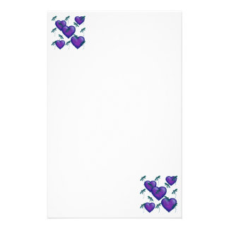 Purple Hearts and Dragonflies Stationery