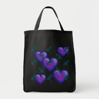 Purple Hearts and Dragonflies Tote Bag