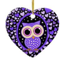 purple hearts and owl ceramic ornament