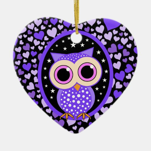 purple hearts and owl Double-Sided heart ceramic christmas ornament