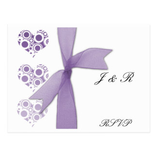 Purple Hearts and Ribbons RSVP Postcard