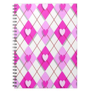Purple Hearts Argyle Spiral Notebook