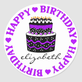 Purple Hearts Birthday Cake Classic Round Sticker