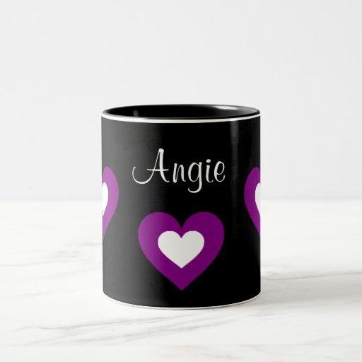 Purple Hearts Customizable Name Valentine Mug