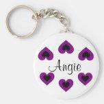 Purple Hearts Customizable Valentine Name Keychain