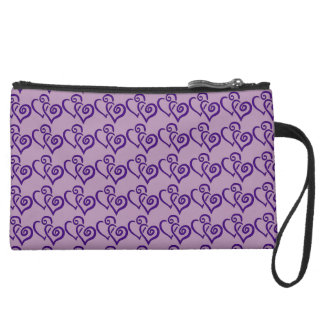 Purple Hearts Design Clutch