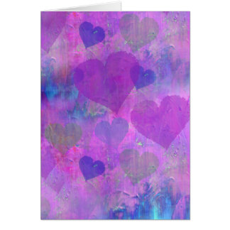 PURPLE HEARTS DESIGN Greeting card cute abstract