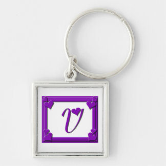 Purple Hearts Frame Monogram Letter V Silver-Colored Square Keychain